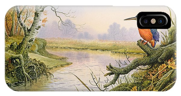 Kingfisher iPhone Case - Kingfisher  Autumn River Scene by Carl Donner