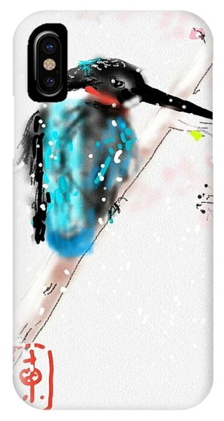 Kingfisher In Late Spring Snow IPhone Case
