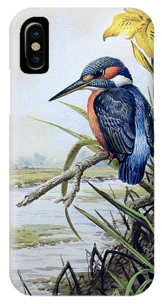 Kingfisher iPhone Case - Kingfisher With Flag Iris And Windmill by Carl Donner