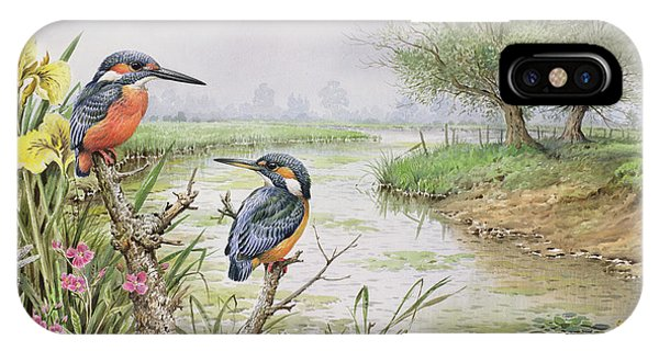 Kingfisher iPhone Case - Kingfishers On The Riverbank by Carl Donner