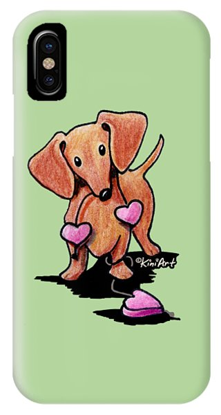 Kiniart Heartstrings Doxie IPhone Case