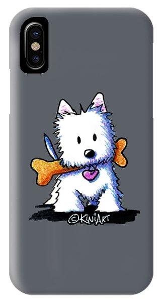 Kiniart Westie With Bone IPhone Case
