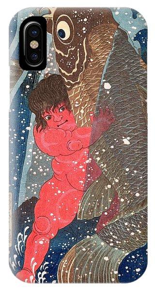 Struggle iPhone Case - Kintoki Swims Up The Waterfall by Kuniyoshi