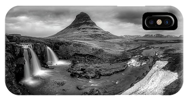 Kirkjufellsfoss Dawn Monochrome  IPhone Case