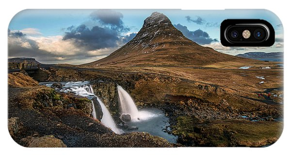 Kirkjufellsfoss Waterfall And Kirkjufell Mountain, Iceland IPhone Case