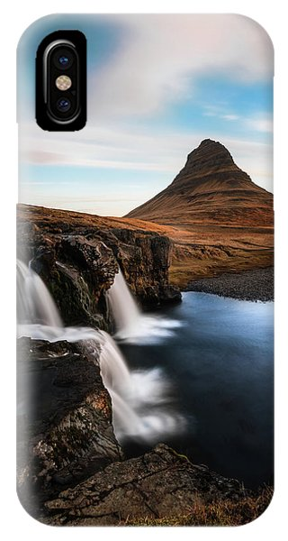 Reindeer iPhone Case - Kirkjufellsfoss Waterfalls Iceland by Larry Marshall