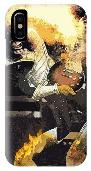 IPhone Case featuring the digital art Kiss Ace Frehley Guitar On Fire by Joy McKenzie