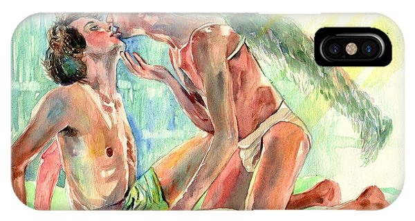 Gay Men iPhone Case - Kiss Of The Angel by Suzann Sines