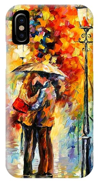 Afremov iPhone X Case - Kiss Under The Rain by Leonid Afremov