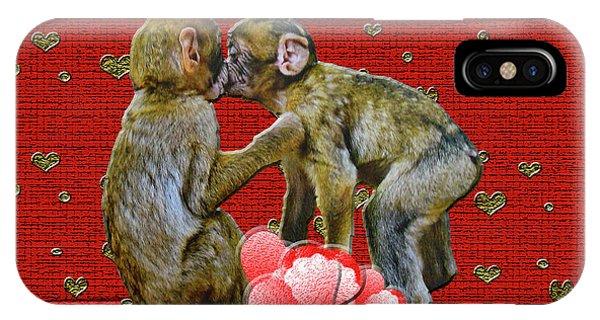 Kissing Chimpanzees Hearts IPhone Case