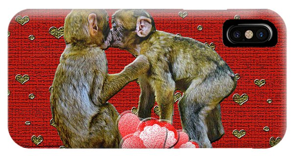 Kissing Chimpanzees Hearts IPhone Case