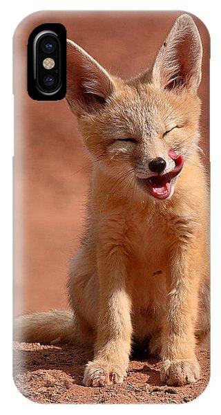 Kit Fox Pup Mid-lick IPhone Case