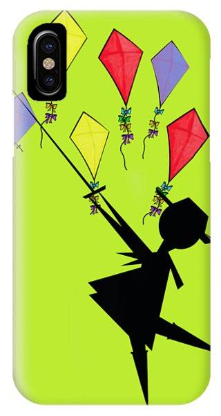 Having Fun iPhone Case - Kite Flying  by David Michael  Schmidt