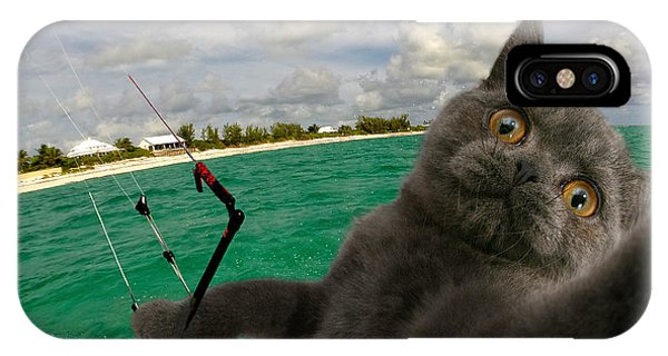 Kite Surfing Cat Selfie IPhone Case