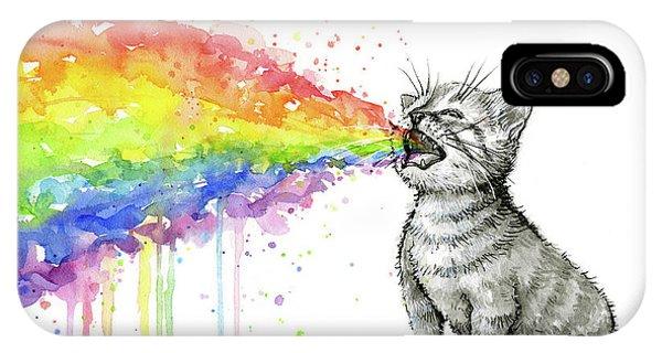 Kitten iPhone Case - Kitten Tastes The Rainbow by Olga Shvartsur