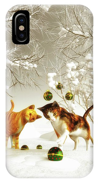 Kittens At Christmas IPhone Case