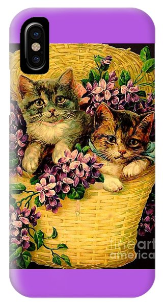 Kittens With Violets Victorian Print IPhone Case