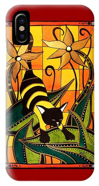Kitty Bee - Cat Art By Dora Hathazi Mendes IPhone Case