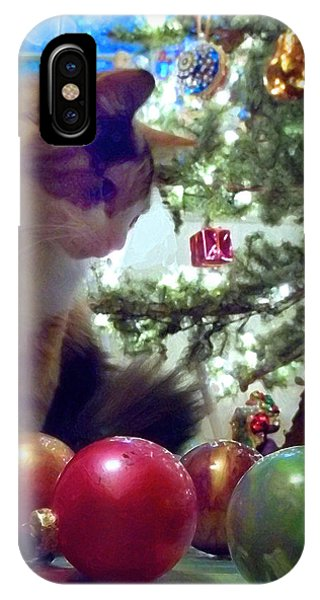 Kitty Helps Decorate The Tree Christmas Card IPhone Case