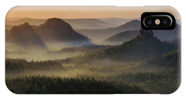 Kleiner Winterberg Silhouettes, Saxon Switzerland, Germany IPhone Case
