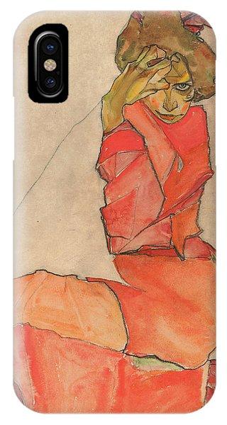 Kneeling Female In Orange-red Dress IPhone Case