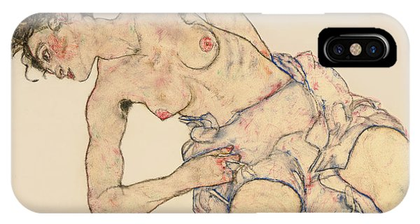 Women iPhone Case - Kneider Weiblicher Halbakt by Egon Schiele