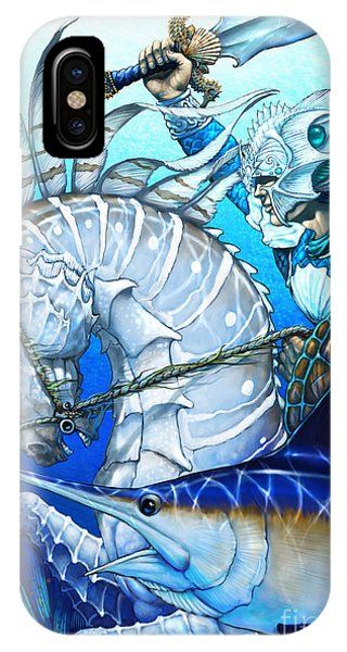 Seahorse iPhone Case - Knight Of Swords by Stanley Morrison