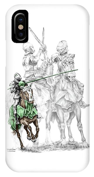Knight Time - Renaissance Medieval Print Color Tinted IPhone Case