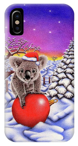 Coloured Pencil iPhone Case - Koala On Christmas Ball by Remrov