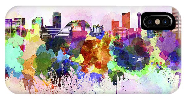 Kobe Skyline In Watercolor Background IPhone Case