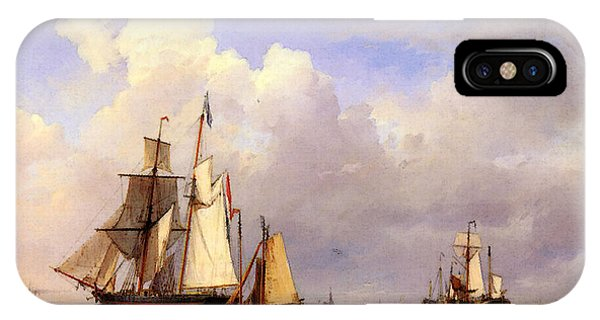 Koekkoek Hermanus Vessels At Anchor In Estuary With Fisherman IPhone Case