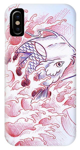 Koi iPhone Case - Koi Tattoo Sketch by Samuel Whitton