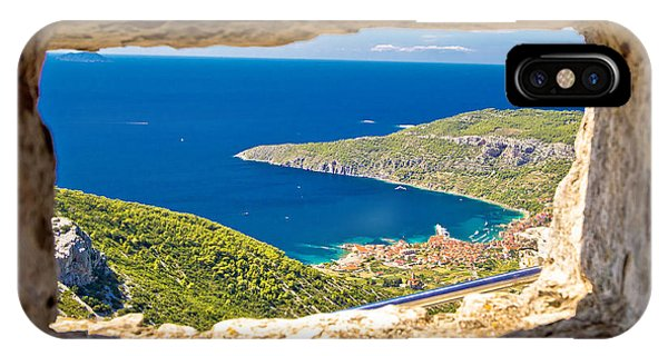 Komiza Bay Aerial View Through Stone Window IPhone Case
