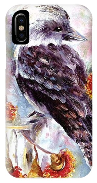 Kookaburra In Red Flowering Gum IPhone Case