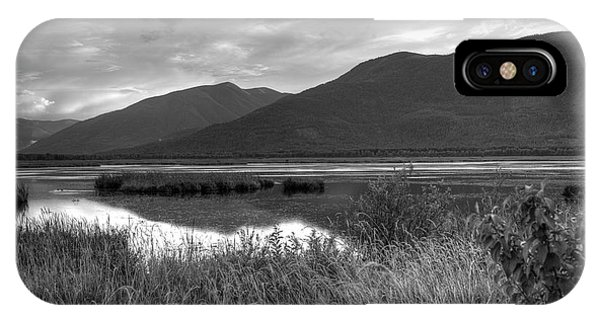 Kootenay Marshes In Black And White IPhone Case