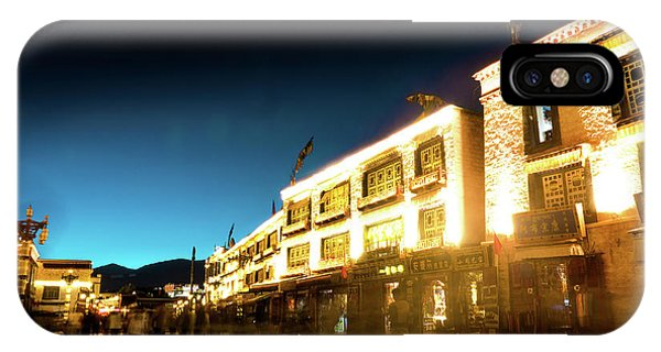 Kora iPhone Case - Kora At Night At Jokhang Temple Lhasa Tibet Yantra.lv by Raimond Klavins