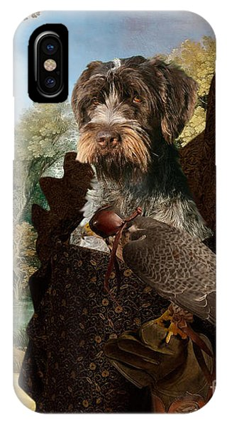 Korthals Pointing Griffon Art Canvas Print - The Hunters And Lady Falconer IPhone Case