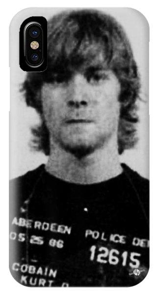 Kurt Cobain Mug Shot Vertical Black And Gray Grey IPhone Case