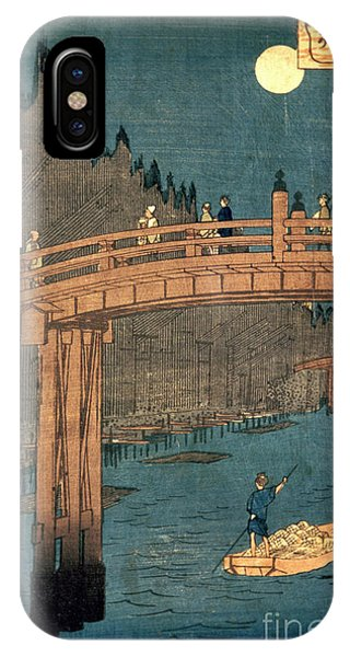 Yard iPhone Case - Kyoto Bridge By Moonlight by Hiroshige