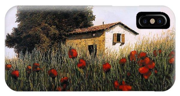 Poppies iPhone Case - La Casetta In Mezzo Ai Papaveri by Guido Borelli