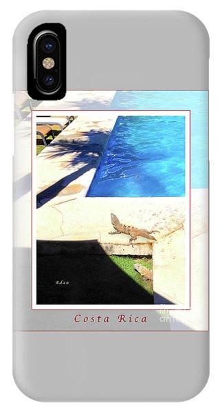 la Casita Playa Hermosa Puntarenas Costa Rica - Iguanas Poolside Greeting Card Poster IPhone Case