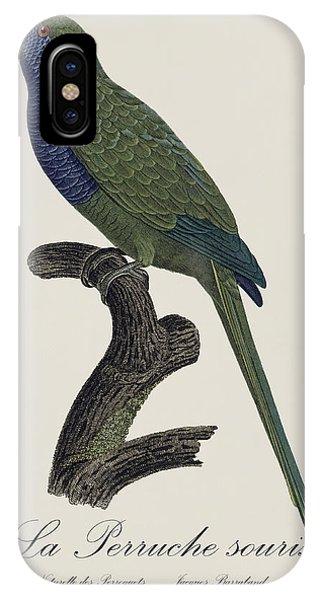 La Perruche Souris / Monk Parakeet- Restored 19th Century Illustration By Jacques Barraband  IPhone Case