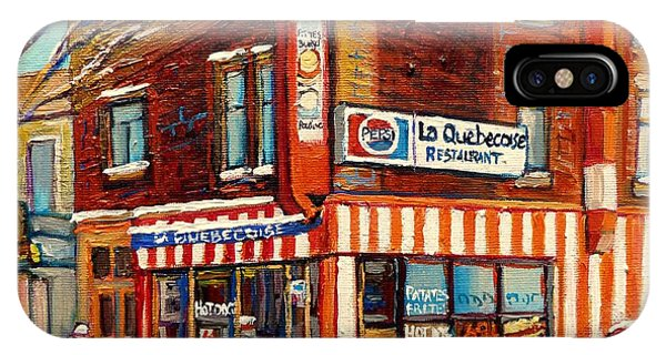 Table For Two iPhone Case - La Quebecoise Restaurant Deli by Carole Spandau