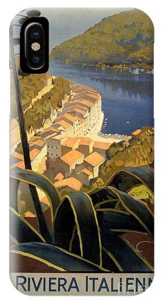 La Riviera Italienne Vintage Travel Poster Restored IPhone Case