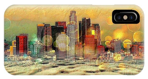 Los Angeles Skyline By Nico Bielow IPhone Case