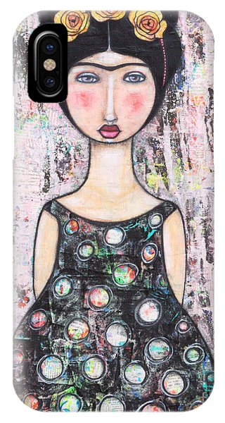 IPhone Case featuring the mixed media La-tina by Natalie Briney