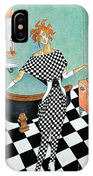La Toilette -- Woman In Whimsical Art Deco Bathroom IPhone Case