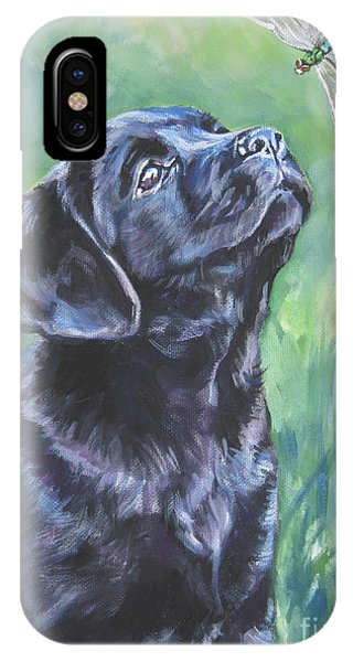 Pet Portrait iPhone Case - Labrador Retriever Pup And Dragonfly by Lee Ann Shepard