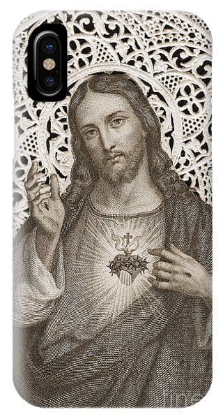 Organ iPhone Case - Lace Card Depicting The Sacred Heart Of Jesus by French School