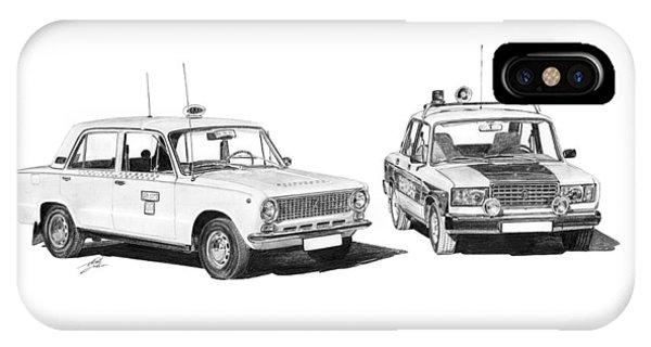 Lada Vaz 21011 Taxi 2107 Police Phone Case by Gabor Vida